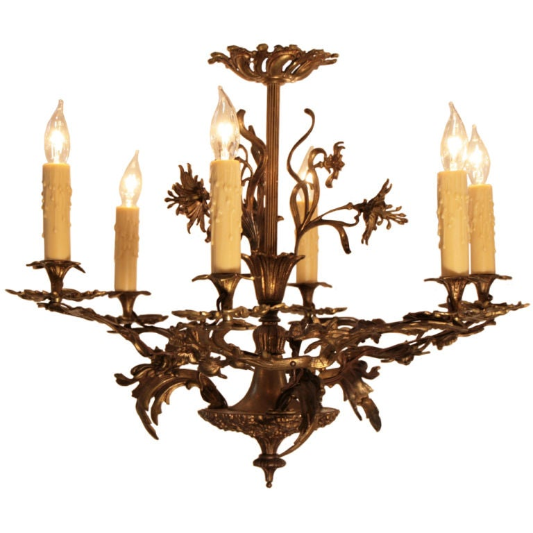 French art nouveau brass chandelier at 1stdibs for Chandelier art nouveau