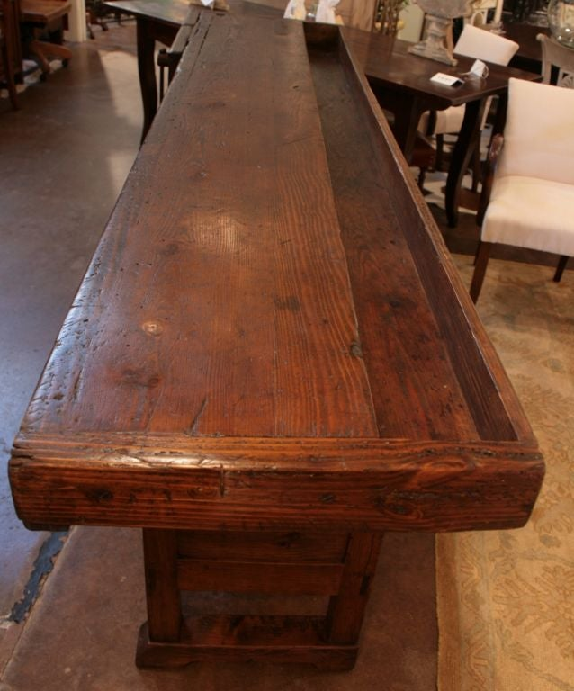 French Solid Cherry Wood And Chestnut Work Bench At 1stdibs
