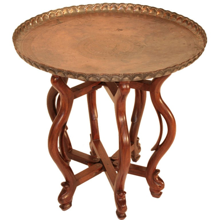 Chinese Relief Coffee Table: Chinese Hand Carved Walnut And Copper Coffee Table At 1stdibs