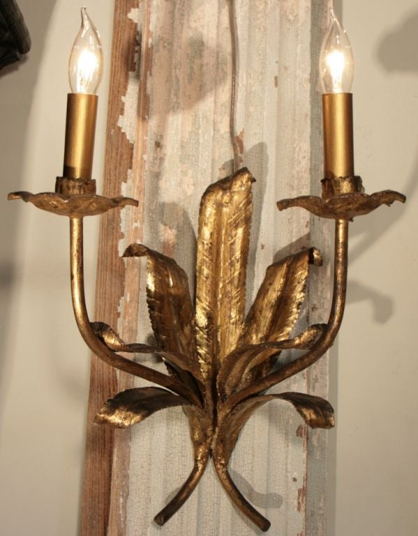 Spanish Iron Wall Sconces : Pair of Spanish Gold Leafed Iron Sconces at 1stdibs