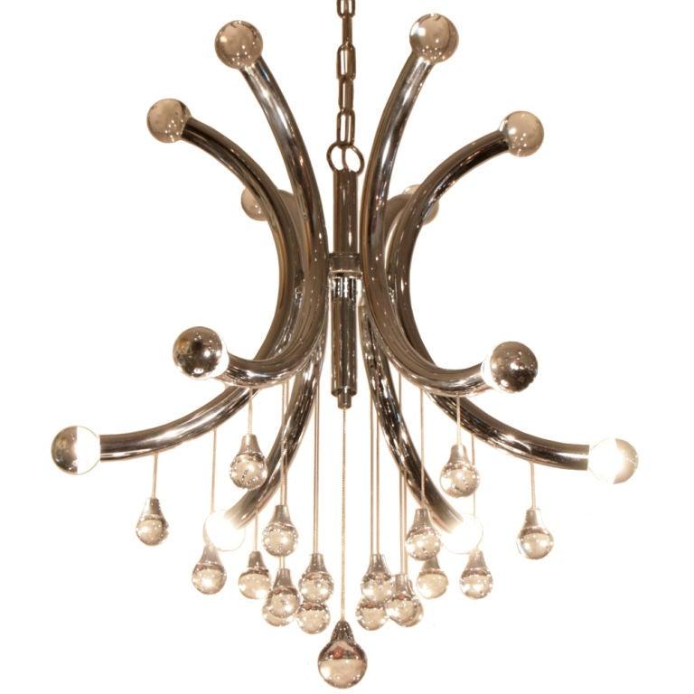 Italian vintage chrome and glass chandelier at 1stdibs for Retro italian xxx
