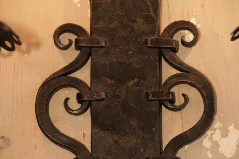 Pair of French Antique Forged Iron Sconces at 1stdibs