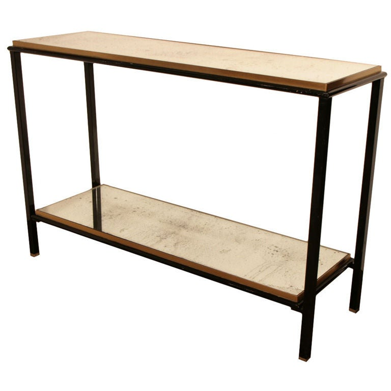 1stdibs Brass Smoked Glass French Console Table: French Vintage Brass And Glass Console Table At 1stdibs