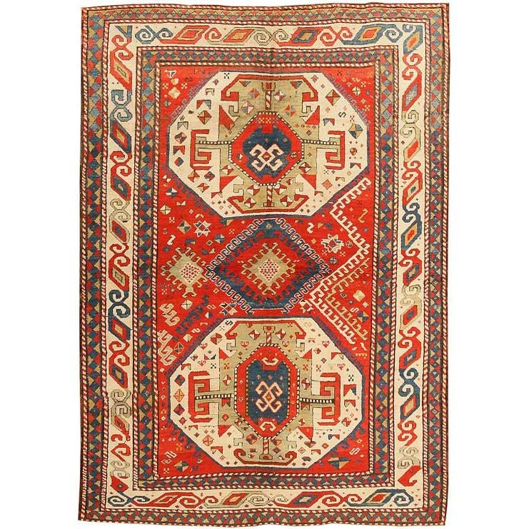 Antique Caucasian Tribal Kazak Rug / Carpet At 1stdibs