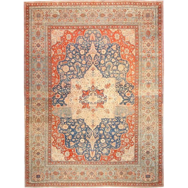Antique Oriental Persian Mohtasham Kashan Rug Or Carpet 1