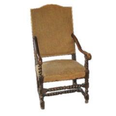 Vintage Louis XIII Highback Armchair
