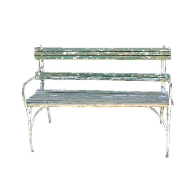 Green Slatted Garden Bench