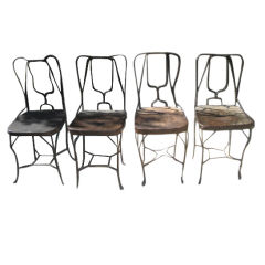 """Vintage Recycled Iron """"Champagne"""" School Chairs"""