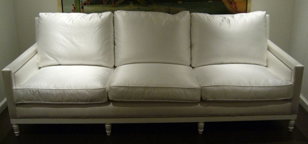 white satin and nailhead sofa for sale at 1stdibs. Black Bedroom Furniture Sets. Home Design Ideas