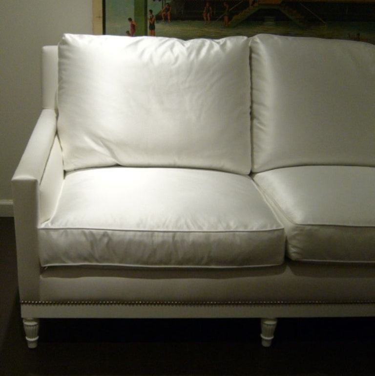 Contemporary White Satin and Nailhead Sofa For Sale