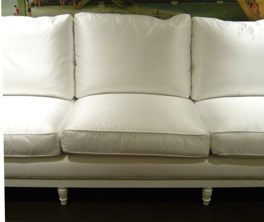Paint White Satin and Nailhead Sofa For Sale