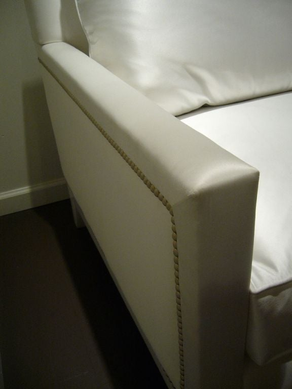 White Satin and Nailhead Sofa In Good Condition For Sale In Yountville, CA