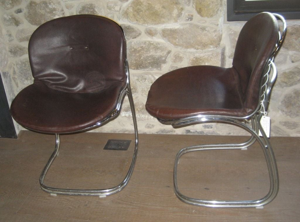 set of 4 vintage chrome and faux leather chairs at 1stdibs