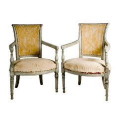 Pair of Grey Painted Antique French Fauteuils