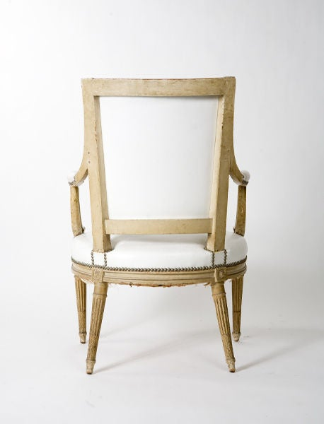 Wood French Louis XVI Style Armchair For Sale