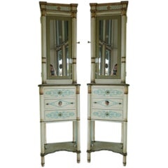 Pair of Neoclassical Style Mirrored Door Cupboards