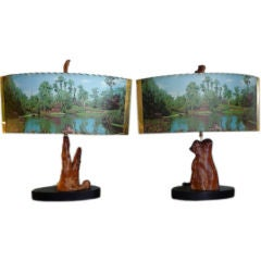 Large + Amazing Pair of Cypress Knee Lamps with Original Shades