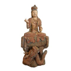 Carved and Painted Kwan Yin or Buddha Figure