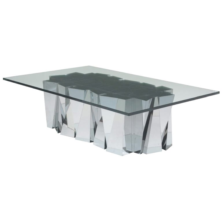 Stainless Steel Coffee Table: Rare Paul Evans Faceted Stainless Steel Coffee Table At