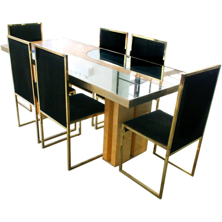 Sculptural Mirrored Birdseye Dining Table Set With Brass Chairs At
