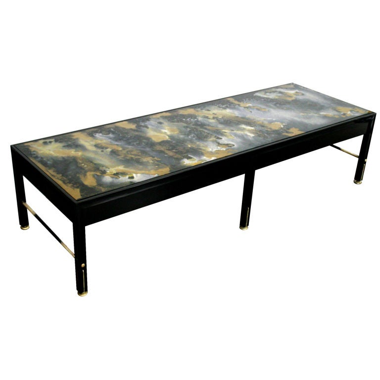 Reverse Painted Glass Top Wood Coffee Table With Brass