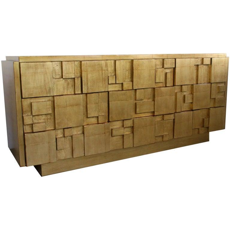 Goldleafedcredenza for Sideboard gold