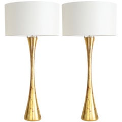 Pair of Monumental Gold Leaf Lamps, after Phillip Lloyd Powell