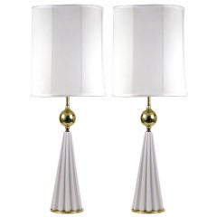 Stiffel Monumental Porcelain Brass Lamps