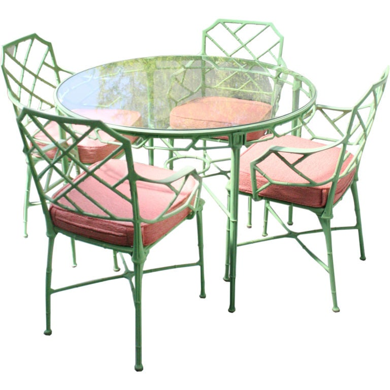 Metal bamboo patio set dinette at 1stdibs Metal garden furniture sets