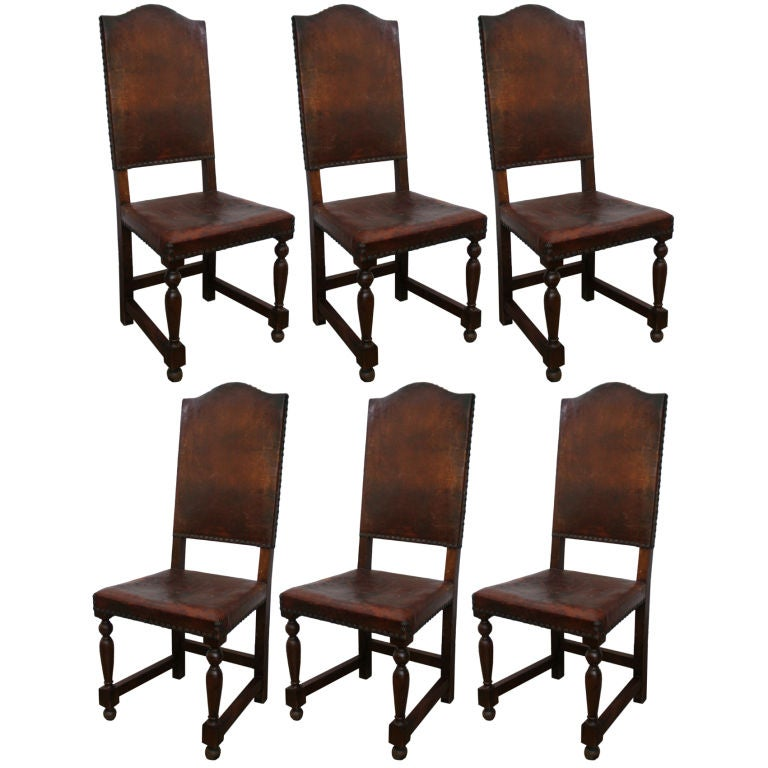 6 19th century leather and wood spanish dining chairs at