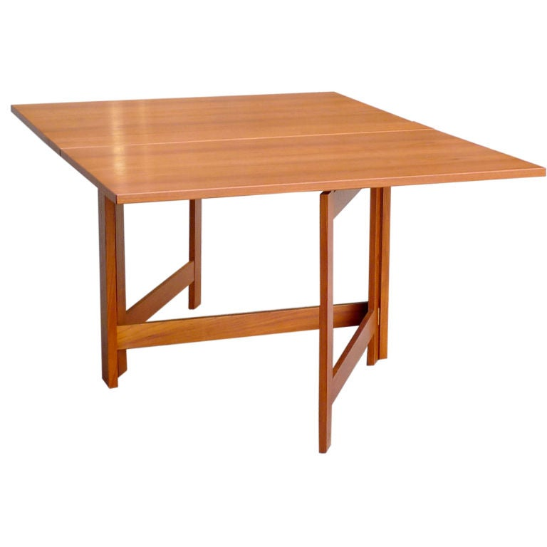 Teak gate leg dining table at 1stdibs for One leg dining table
