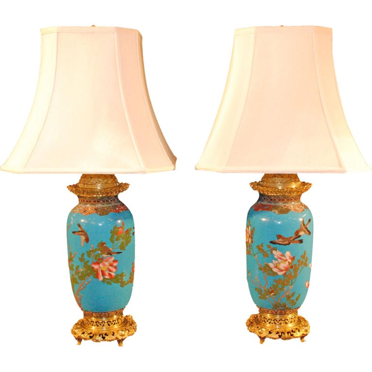 Pair Of Antique Chinese Cloissine Lamps With French Bronze Mount For Sale