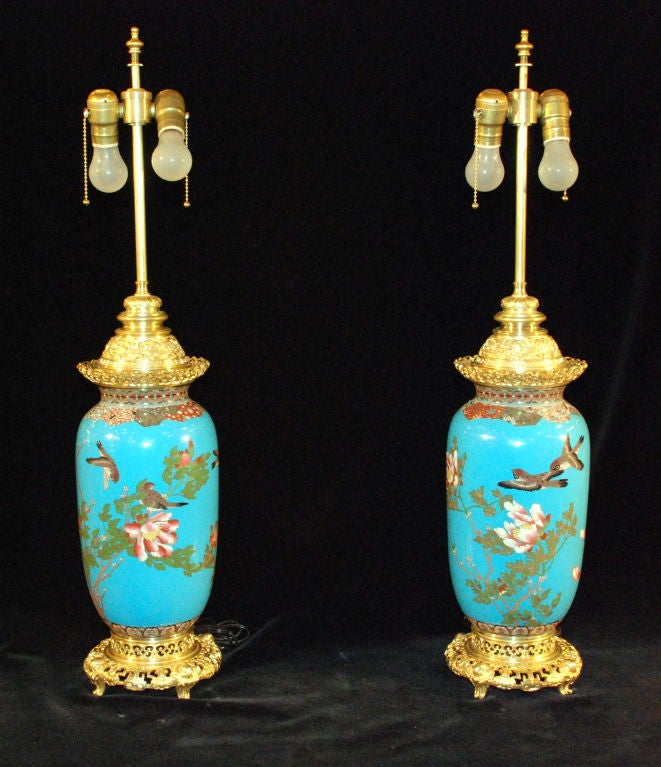 Pair of Antique Chinese Cloissone With French Ormulu Mounts Lamps Beautiful Persian Turquoise Blue Color