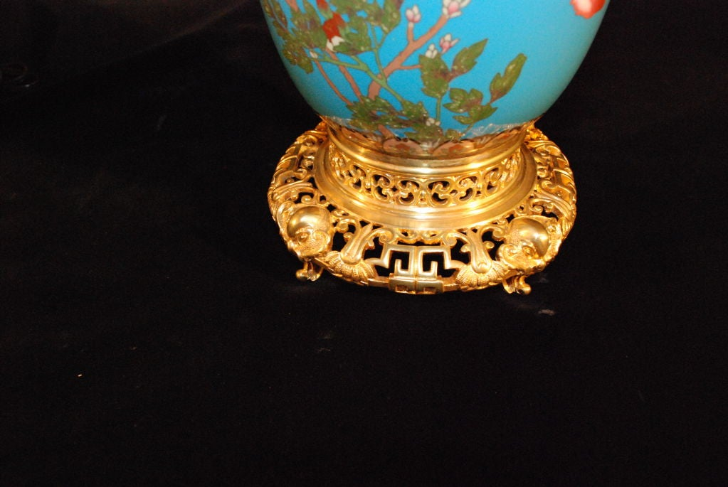 Pair Of Antique Chinese Cloissine Lamps With French Bronze Mount For Sale 2