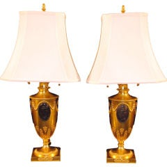 Antique French Neo Classical Bronze Dore Lamps