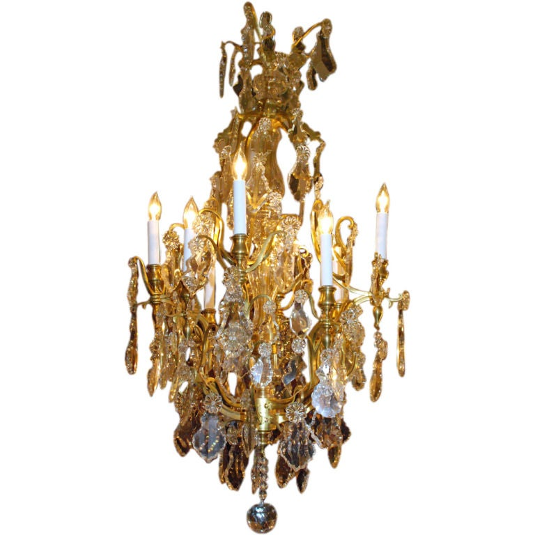 Antique French Baccarat Crystal And Bronze Chandelier At