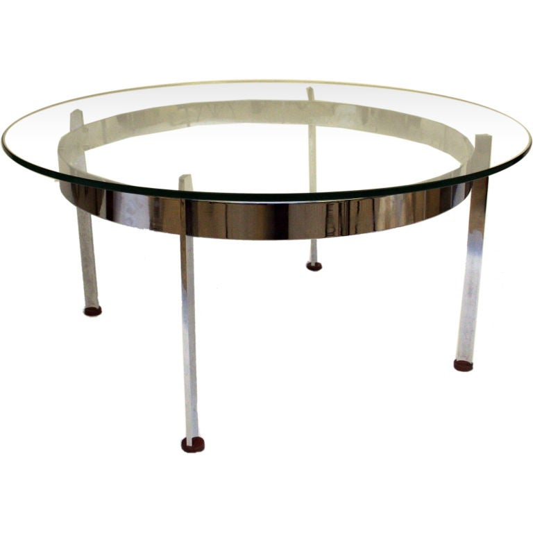 Round Glass Coffee Table With Chrome Base At 1stdibs