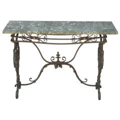1930s Iron Console Table with Marble Top