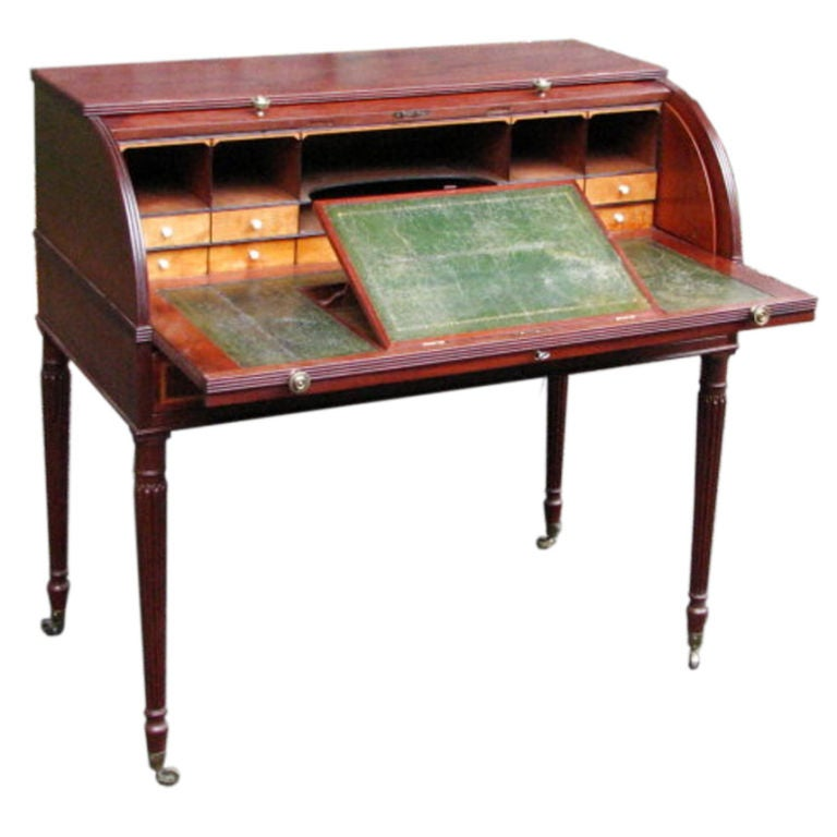 Sheraton style mahogany cylinder desk at 1stdibs for What is sheraton style furniture
