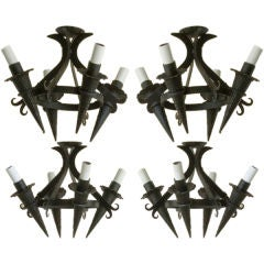 Four Black Iron Arts and Crafts Medieval Style Small Chandeliers