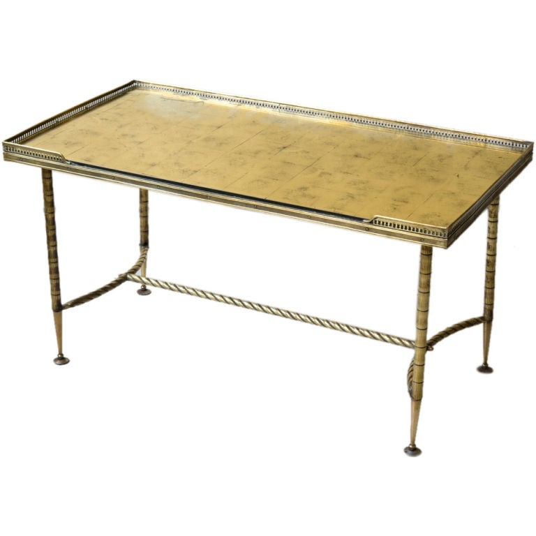 a brass and gold mirror top coffee table at 1stdibs