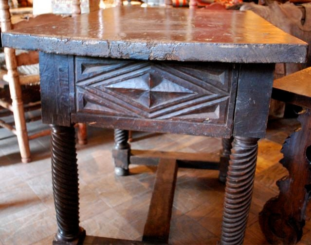 17th Century Spanish Table Turned Legs 3