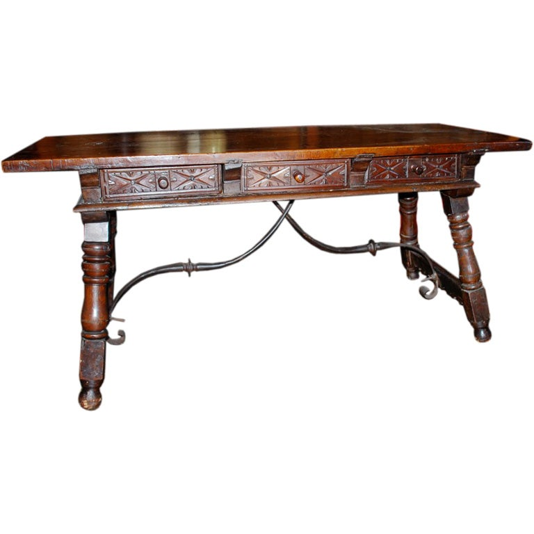 Perfect 17th Century Spanish Library Console Table 1