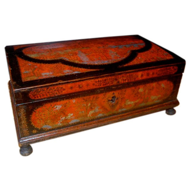 18th Century Mexican Lacquer Box with Animal and Plant Motifs