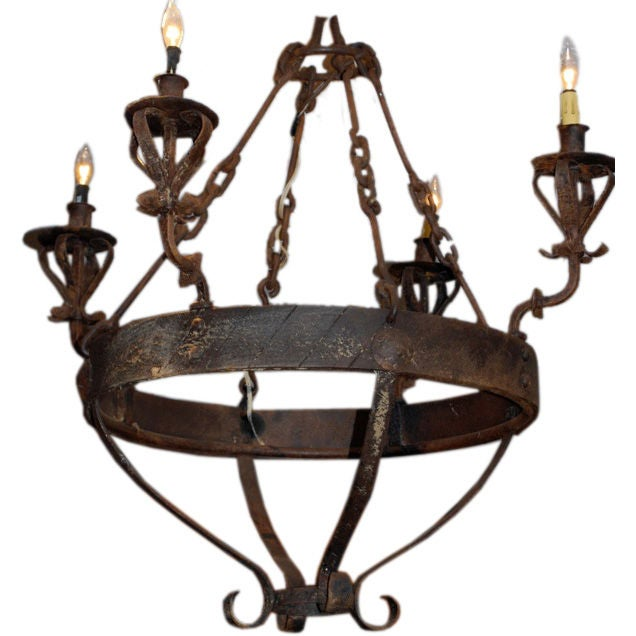 Mexican Spanish Style Wrought Iron Chandelier For