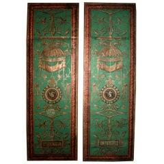 Rare Pair 18th Century Painted Wallpaper Panels