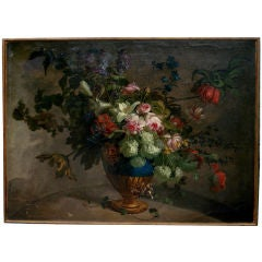 Large 18th Century Dutch Still Life of Flowers in a Vase