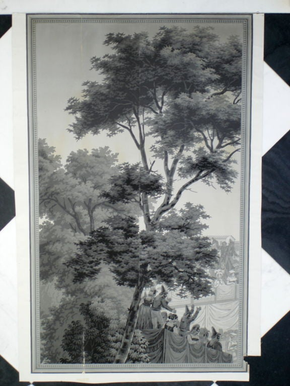 zuber wallpaper series of three horse racing scenes at 1stdibs