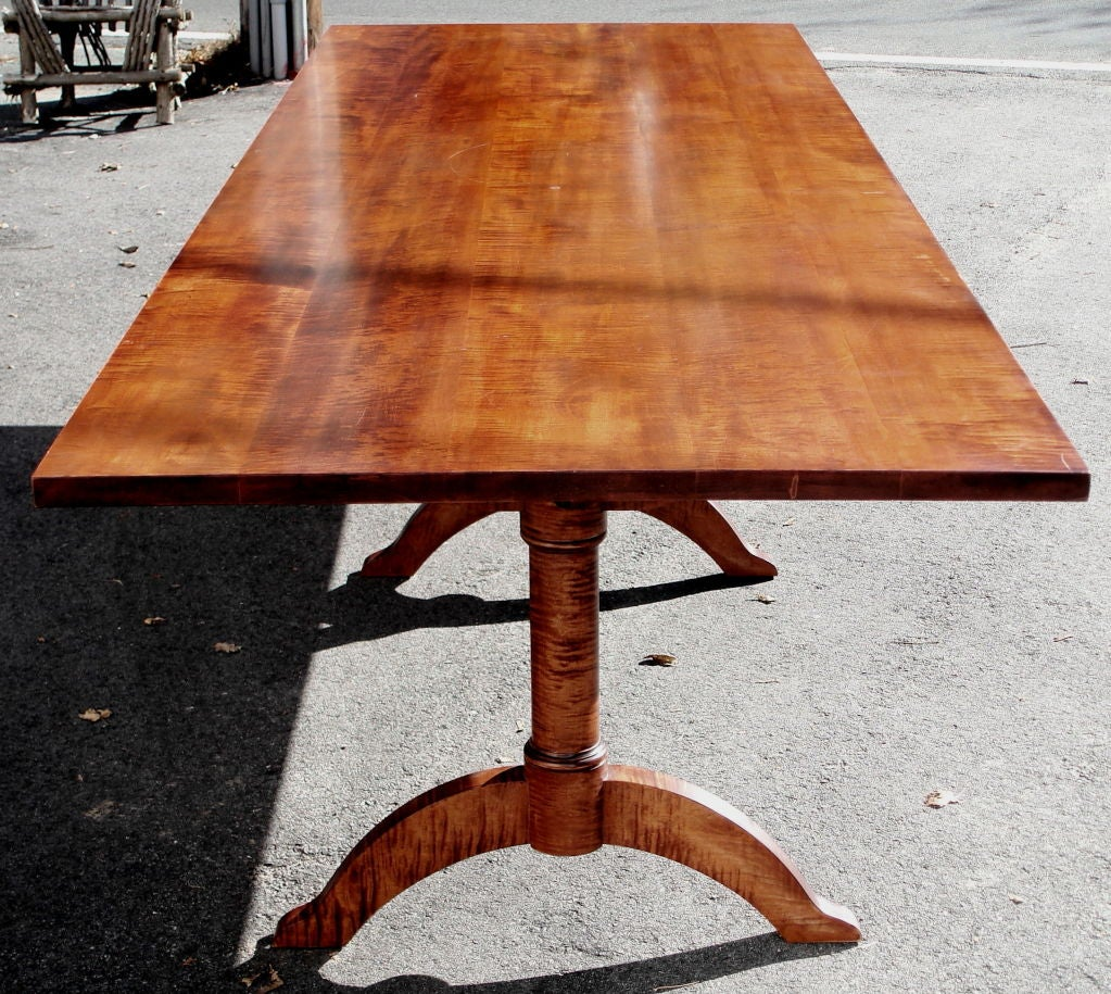 shaker style solid tiger maple dining table at 1stdibs. Black Bedroom Furniture Sets. Home Design Ideas