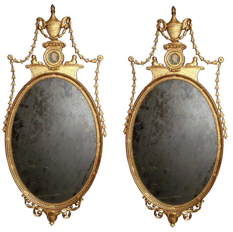 Pair of adam style gilt oval mirrors at 1stdibs for Adam style mirror